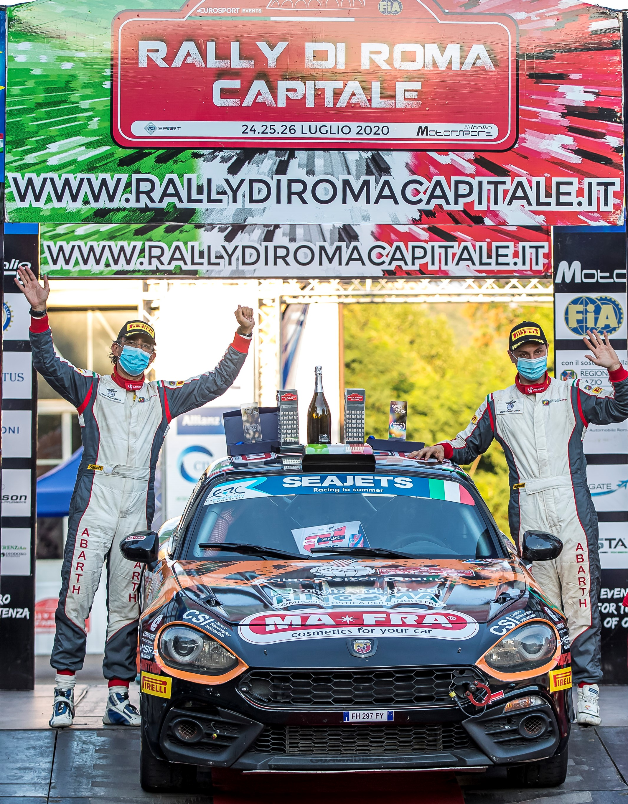 36 MABELLINI Andrea (ITA), MOMETTI Roberto (ITA), Team Napoca Rally Academy, Abarth 124 Rally, podium ambiance during the 2020 Rally di Roma Capitale, 1st round of the 2020 FIA European Rally Championship, from July 24 to 26, 2020 in Rome, Italy - Photo Gregory Lenormand / DPPI