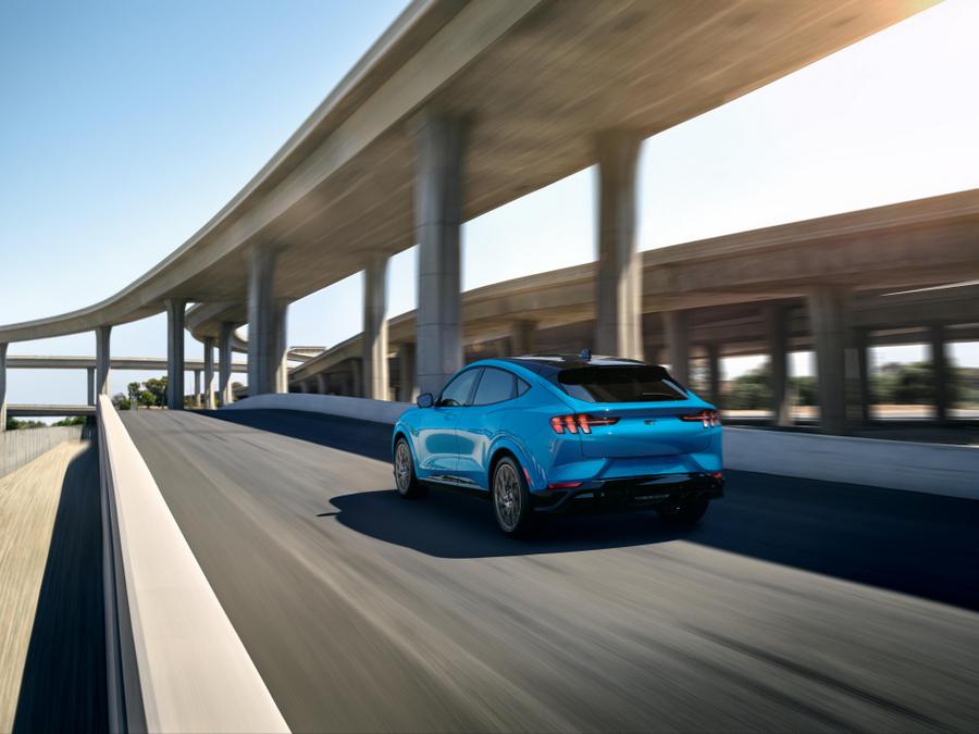 2021 Mustang Mach-E GT in Grabber Blue Metallic.