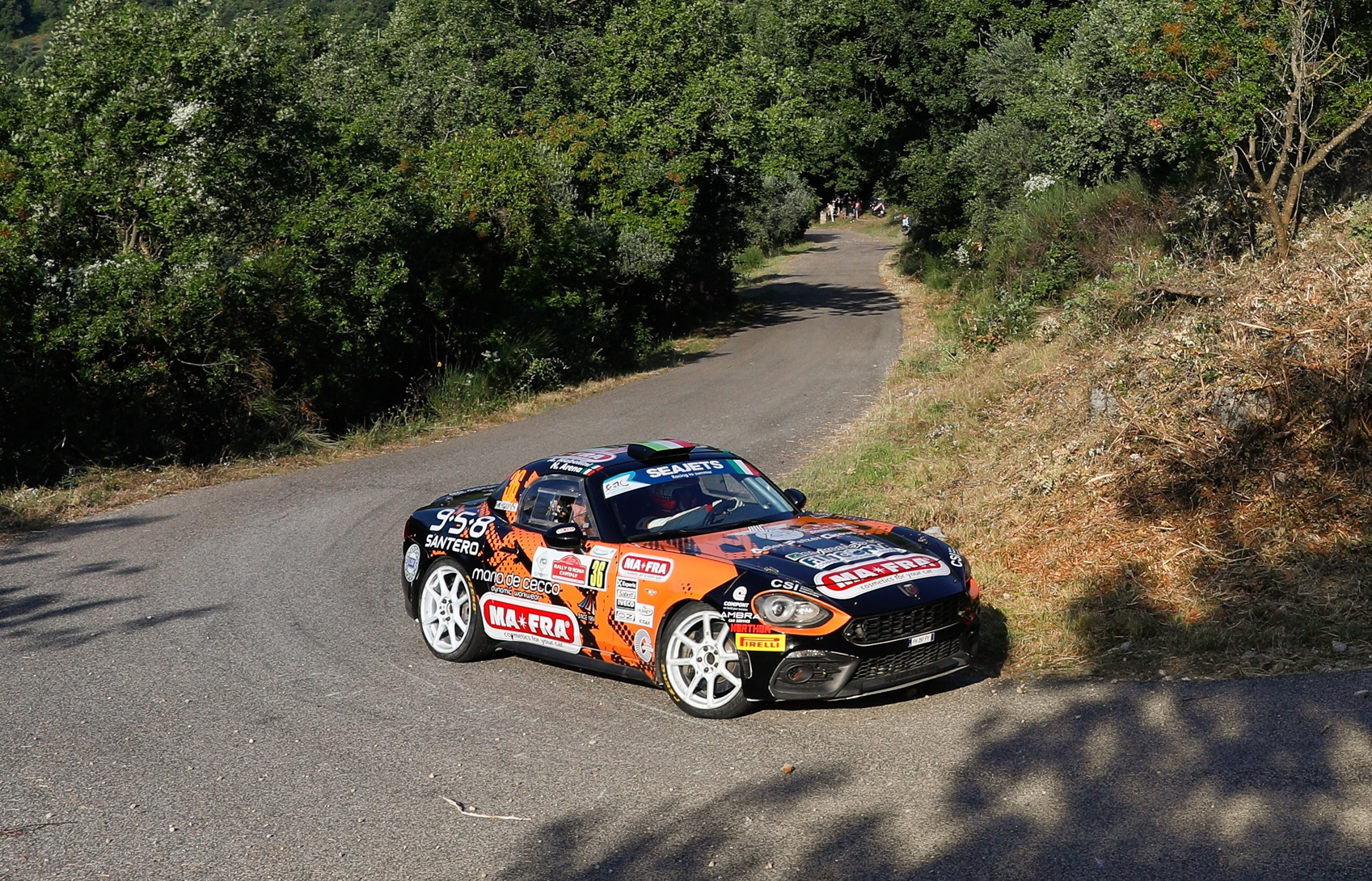36 MABELLINI Andrea (ITA), MOMETTI Roberto (ITA), Team Napoca Rally Academy, Abarth 124 Rally , action    during the 2020 Rally di Roma Capitale, 1st round of the 2020 FIA European Rally Championship, from July 24 to 26, 2020 in Rome, Italy - Photo Frédéric Le Floc'h / DPPI