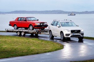 The new Volvo XC90 and a Volvo 262C from 1981.  The Volvo 262C was specially commissioned by Pehr G Gyllenhammar, CEO and President of Volvo from 1971 until 1993. The charismatic head of Volvo wanted his cars to be red and, although this was not a standard colour for Volvo cars, he naturally got his wish. Even the lavish leather interiors are red. Today, the car belongs to the Volvo Museum.