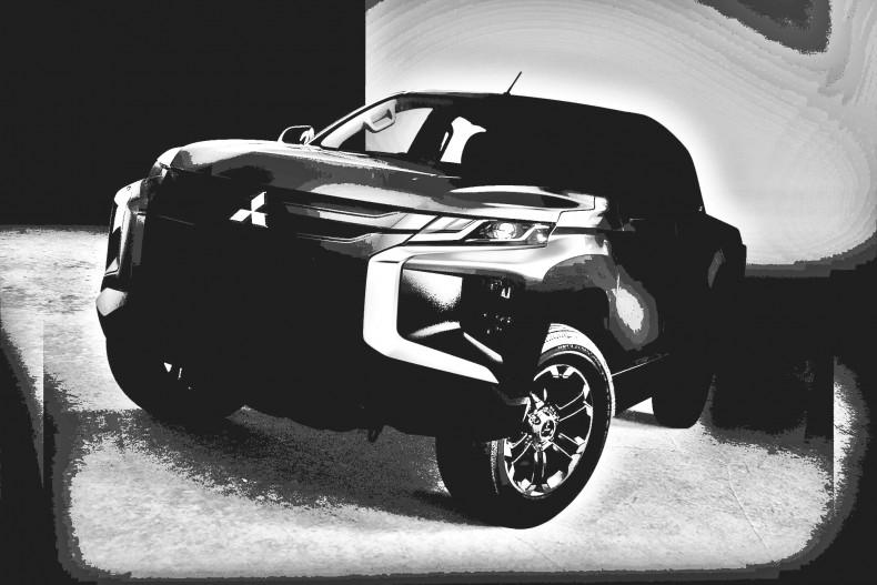 Nowe Mitsubishi L200. Przy pomocy programu do obróbki zdjęć starałem się z teasera wyciągnąć maksimum szczegółów.